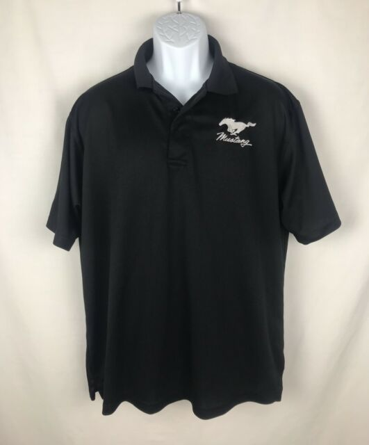 Ford Mustang Polo Shirt Mens Large Black FREE SHIPPING