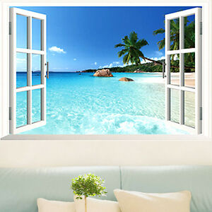 3d strandlandschaft fenster wandtattoos wandsticker dekoration wandbilder tapete ebay. Black Bedroom Furniture Sets. Home Design Ideas