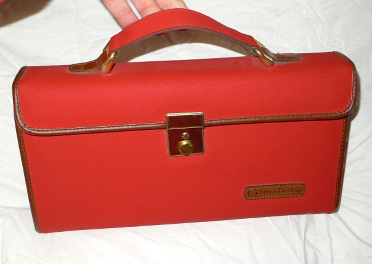 Sergio Tacchini men's accessory red suitcase case with barber shaving travel set
