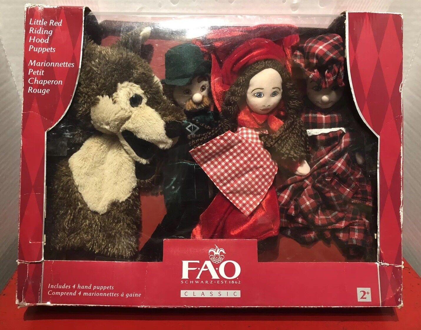FAO Schwarz Hand Puppets - Little ROT Riding Hood Set of 4 New