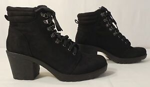 504bc095eca Image is loading BooHoo-Lucy-Chunky-Lace-Up-Hiker-Boot-Black-