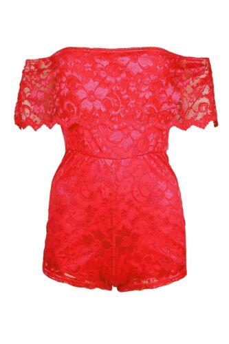 Ladies Women Off Shoulder Edge Scallop Floral Full Lace Playsuit Bardot Jumpsuit