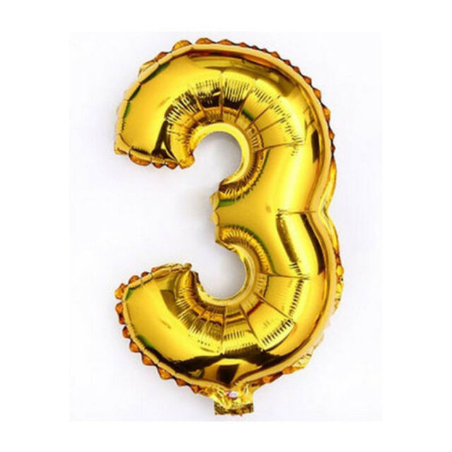 40 Metallic Gold Glossy Three Year Old Birthday Party Number 3 Float Balloon US For Sale Online