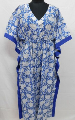 Cotton Indian Handmade Block Print Long Kaftan Beach Dress Floral Nighty Gown