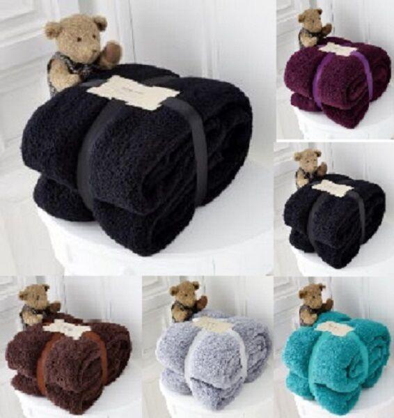 Large Soft Warm Fleece Cuddly Teddy Bear Throw Sofa Bed Blanket Chocolate Brown