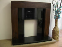 Gas Electric Walnut Brown Black Stone Granite Wall Fire Fireplace Suite Large