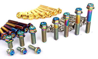 4pcs M6 x10//20//25//30//35//40//45//50mm Titanium six-party flange concave Screws Bolt