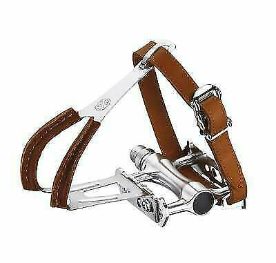 New Wellgo MTB Road BMX Bicycle Bike Leather Pedal Toe Clip Straps Brown