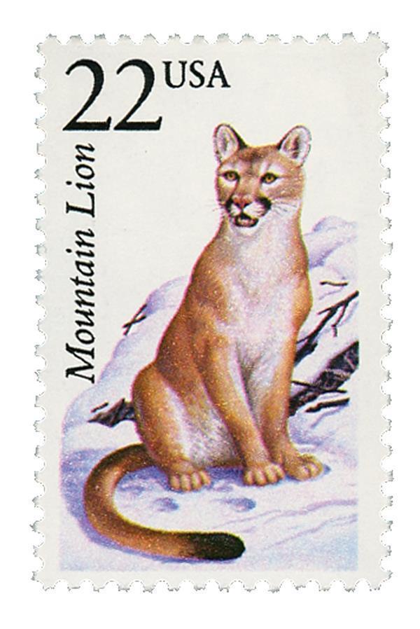 1987 22c Mountain Lion, North American Wildlife Scott 2