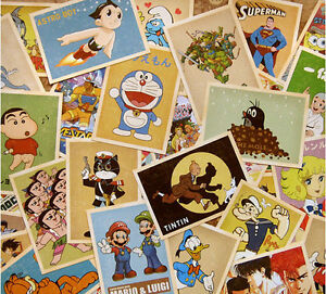 Retro-Vintage-Postcards-Classic-Cartoon-Bulk-Lot-32-PCS-Cards-Set