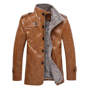 Herren-Herbst-Winter-Warmer-Business-Mantel-Casual-Jacke-Jacken-PU-Leder-BC383
