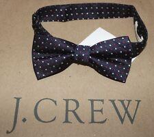 NWT J.CREW Crewcuts Boy's 100% Silk Navy Red/White Micro Dot Adjustable Bow Tie
