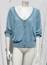 Adidas Stella McCartney Blue ¾ Sleeves Soft Stretch Cardigan Sweater Top sz 36 M