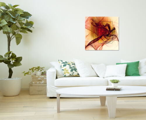 60x60cm Paul Sinus Art Leinwandbild Bilder modern abstrakt rot orange beige/_064