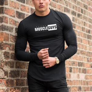 4393718a Image is loading Men-Sport-Long-Sleeves-Fitness-Top-Workout-Gym-