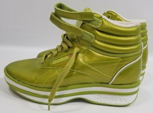 Rare 1980s Reebok Classic15th Hightop Kermit Green Key Lime Shoes Womens 8