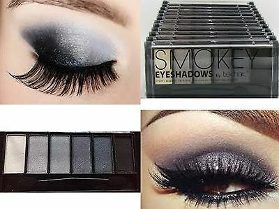 EYE SHADOW Smokey Eyes Palette 6 SHADES BLACK GREYS SILVER WHITE Technic eyes