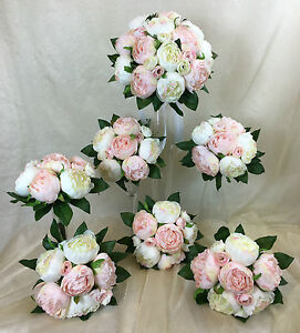 Image Is Loading Light Pink Cream White Peony Artificial Silk Flowers