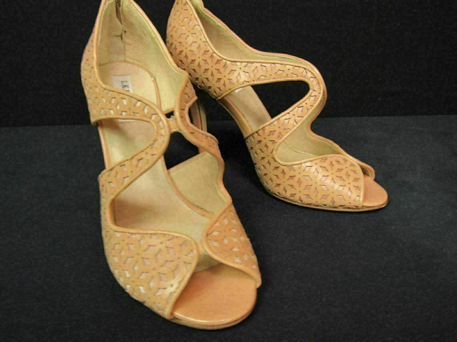 LK Bennett Malibu bluesh Leather Peep Toe Heel Sandals Size 39 9  475