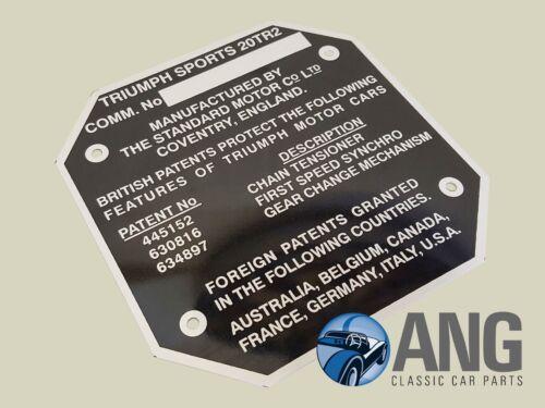 ID Placa de Metal TCP1002 TRIUMPH TR2 número de chasis