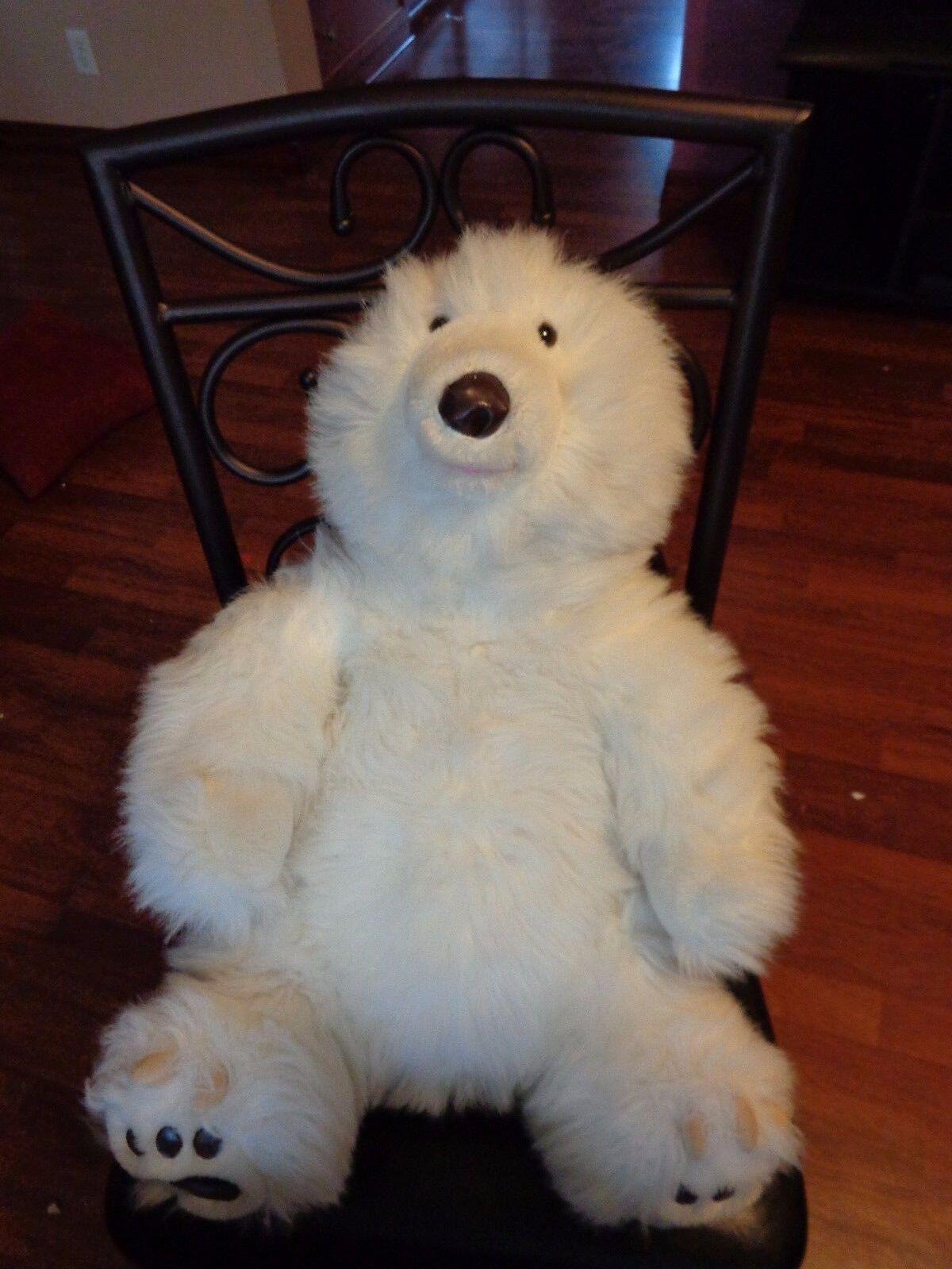 JUMBO RARE VINTAGE REALISTIC ANIMAL FAIR Weiß POLAR BEAR PLUSH DOLL FIGURE TOY