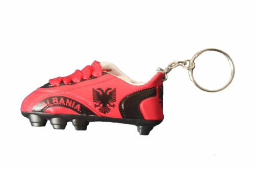 ALBANIA BLACK RED COUNTRY FLAG SOCCER  SHOE CLEAT KEYCHAIN . NEW