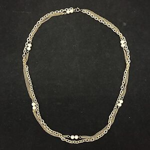 VINTAGE-GOLD-CHAIN-NECKLACE-TWO-CHAINS-IN-ONE-INTERSPERSED-FAUX-PEARLS-15-5-IN