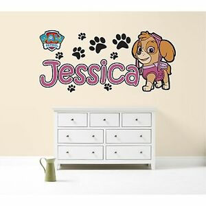 Details about PAW PATROL SKYE PERSONALISED WALL STICKER children\'s bedroom  decal art graphic