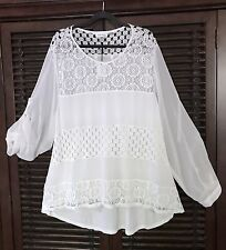 NWT $89 Calvin Klein White Tunic Top Lined Sheer Crocheted LACE CLASSY 2X