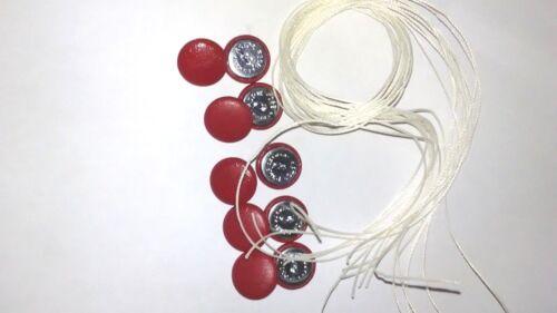 Fil Boucle Arrière 12 x NO24 Rouge Vinyle Couvert Boutons en tissu longueur de fil