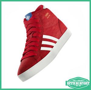 Dettagli su Scarpa da bambino rossa alta Adidas basket Profi sneakers junior palestra casual