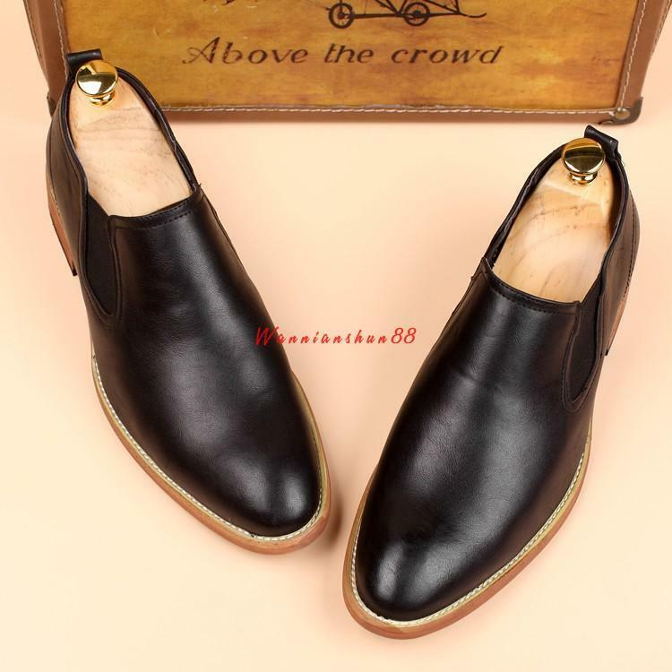 Mens patent Leather slip on Formal Business shoes Pointed Toe oxford Dress