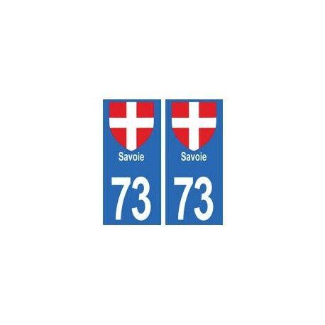 Autocollant sticker 73 Savoie pour plaque moto autocollant format moto arrondis
