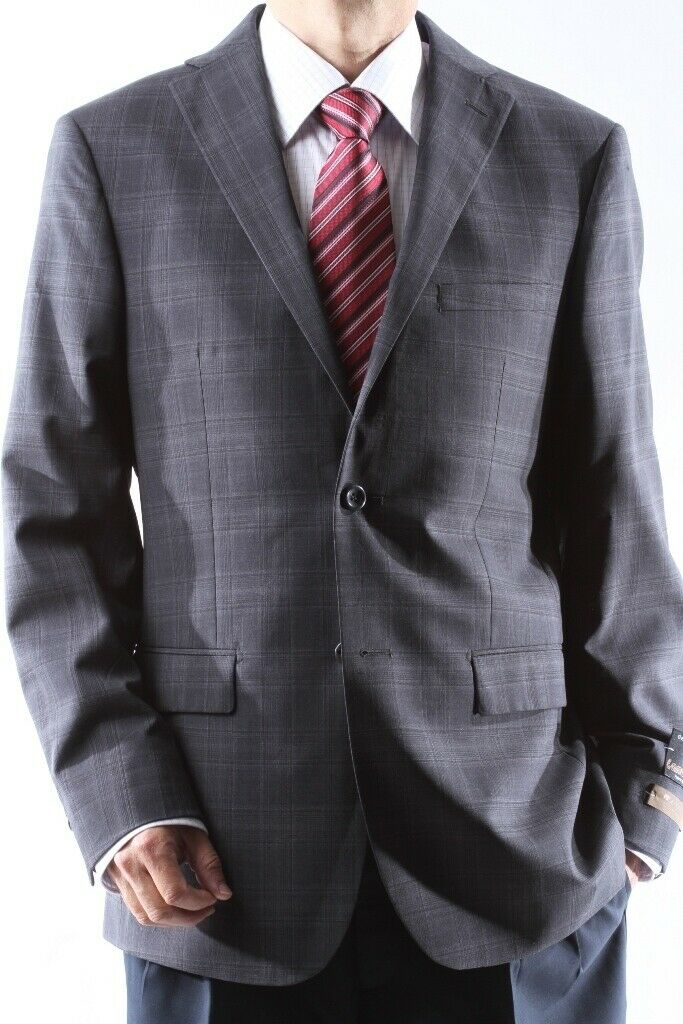 Mens Two Button 100% Lamp Wool Charcoal Sport Coat, J490012S-047-CHA
