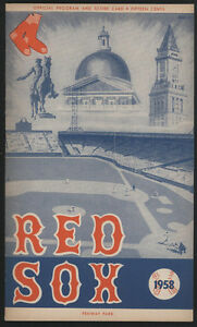 1958 Boston RED SOX vs Washington SENATORS Unscored Baseball Scorebook