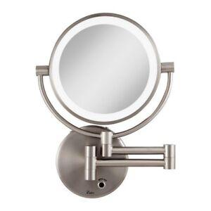 Bathroom Vanity Mirror Wall Mounted Led Light Satin Nickel