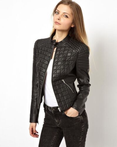 Lady Lambskin Designer Womens Real Jacket Jackets Genuine Leather Bikers gUqCcB