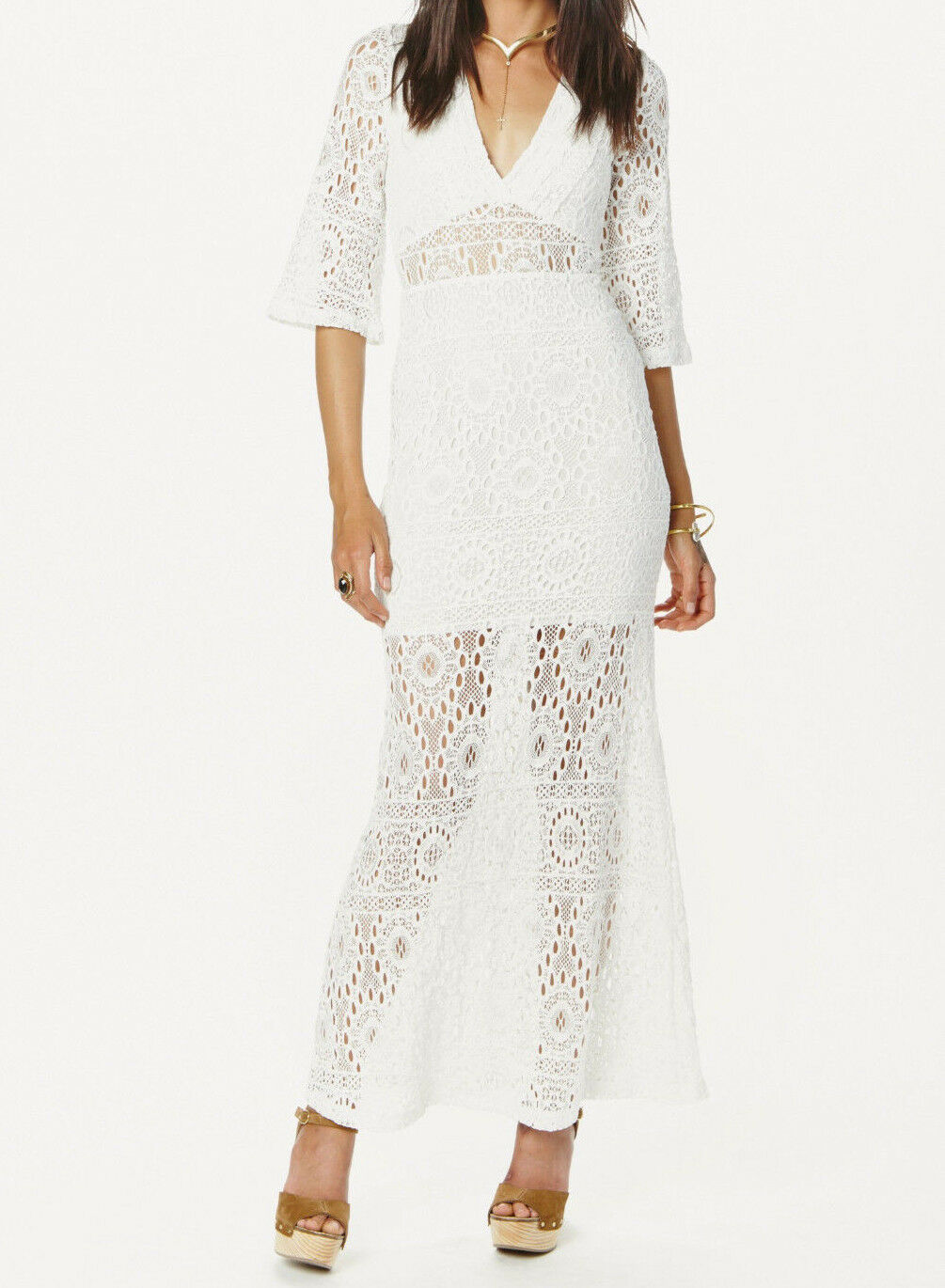 NWD NIGHTCAP WHITE LACE KIMONO MAXI DRESS GOWN 1 XS