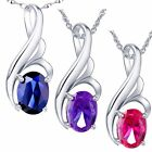 0.75 Cttw .925 Sterling Silver Oval Cut Gemstone Pendant Necklace w/ 18