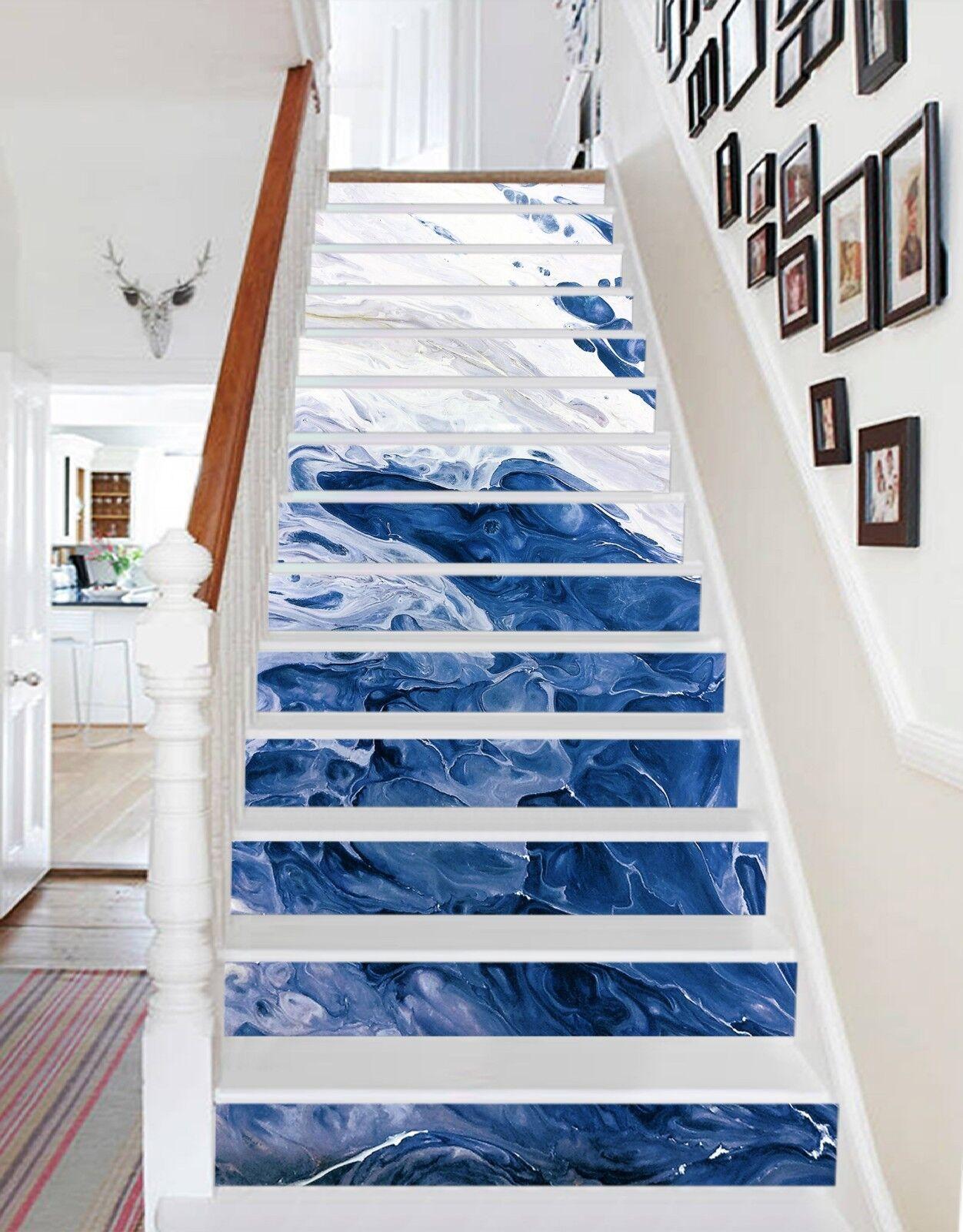 3D Blanc Peinture Bleu 1 Carrelage Marbre contremarches Décoration Murale Vinyle Papier Peint