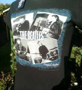The-Beatles-At-The-Cavern-Women-039-s-Black-T-shirt-by-Rock-Off-Small-Medium-NEW
