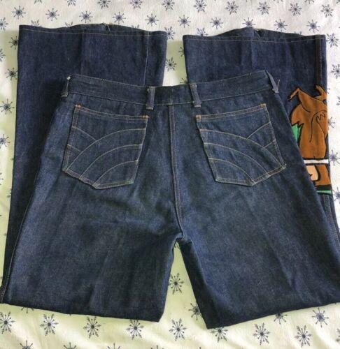 vintage 70's denim Chemin De Fer wide leg jeans 36