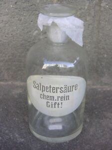 Pot-a-pharmacie-ancien-19-eme-034-Salpetersaure-034-034-En-verre-souffle