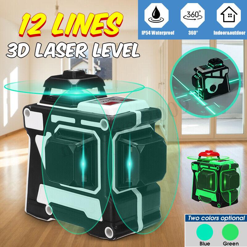 Pro12 Lines 3D Self Leveling Laser Level Grün Blau Light 360 Degree Rotary HOT