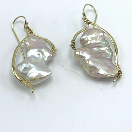 Huge Estate Designer Art Glass Gemstone Biwa Pearl Bracelet