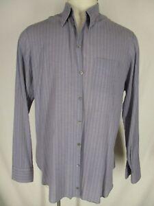 Armani-Black-Label-Mens-Grey-Stripe-Long-Sleeve-Cotton-Shirt-41-16-L-Italy-Made
