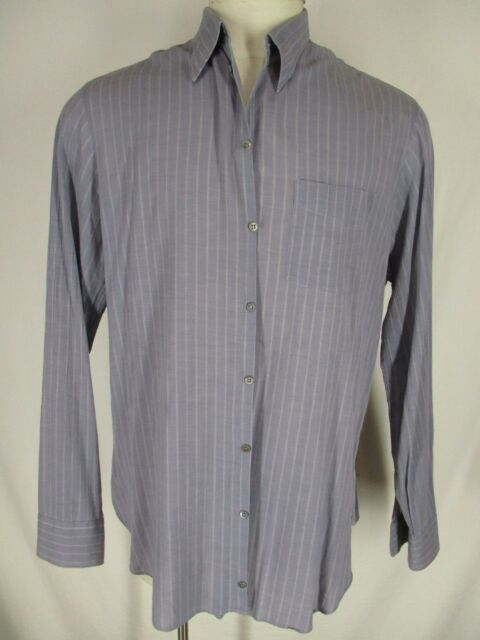 Armani Black Label Mens Grey Stripe Long Sleeve Cotton Shirt 41 16 L Italy Made