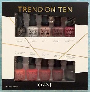OPI-TREND-ON-TEN-5pc-or-10pc-Nail-Polish-Set-Foggiest-Snow-Tickle-Apple-Malaga