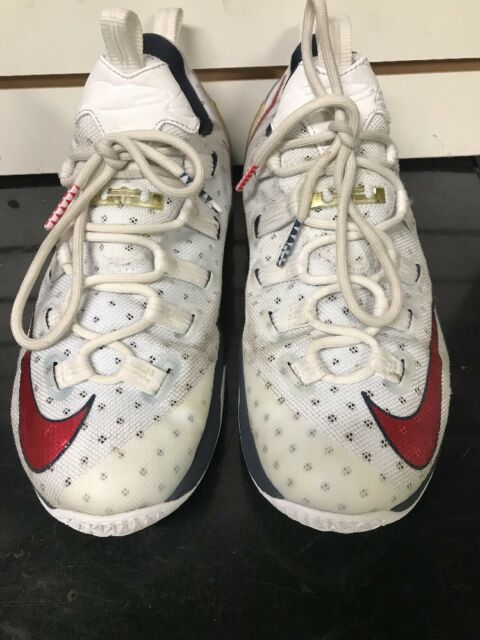 f0bc6c5ad3aa Nike Lebron XIII Low USA 13 Men Basketball Shoes White Red Obsidian ...