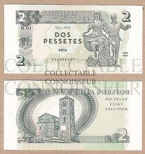Andorra 2 Pesetas Pessetes 2014 UNC SPECIMEN Test Note Banknote